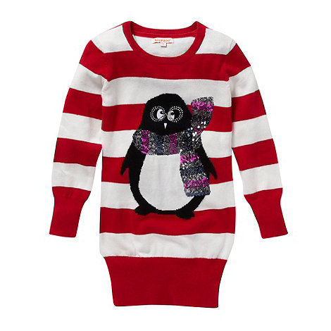 bluezoo - Girl+s red penguin knit tunic