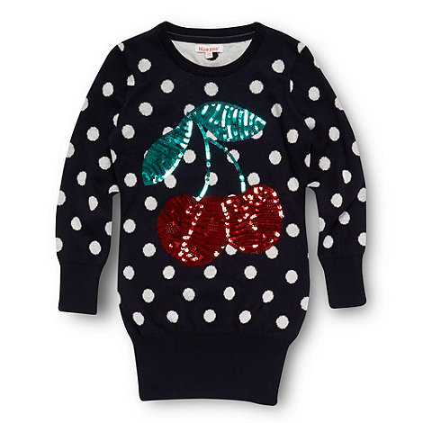 bluezoo - Girl+s navy sequinned cherries jumper