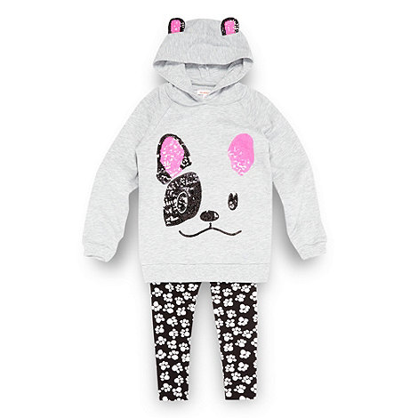 bluezoo - Girl+s grey dog face hoodie and leggings