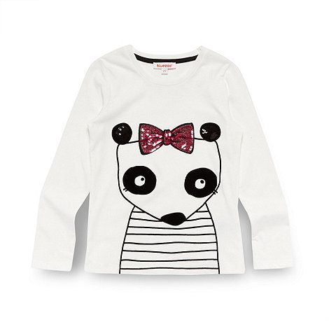 bluezoo - Girl's off white flocked panda top