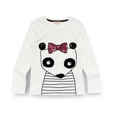 bluezoo - Girl+s off white flocked panda top