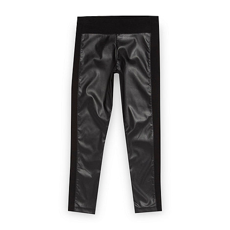 bluezoo - Girl's black faux leather panelled leggings
