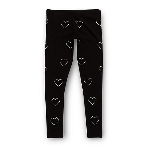 bluezoo - Girl+s black studded heart leggings