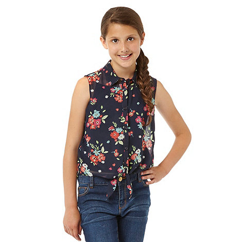 bluezoo - Girl+s navy floral shirt