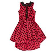 Girl's red hear printed dress