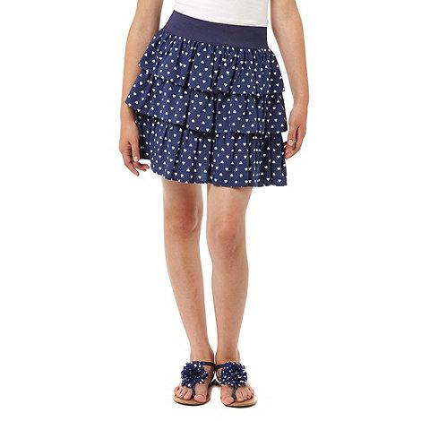 bluezoo - Girl+s navy heart skirt