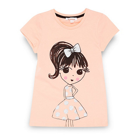 bluezoo - Girl's coral sketchy girl t-shirt