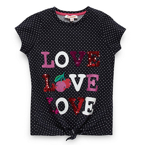 bluezoo - Girl+s navy +Love+ tie front top