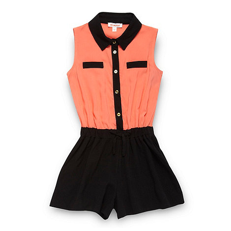 bluezoo - Girl+s coral colour block playsuit