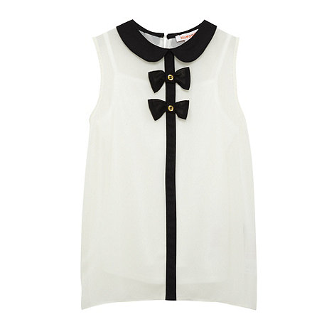bluezoo - Girl+s white woven bow top