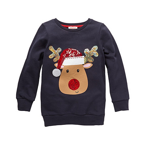 bluezoo - Girl+s navy reindeer sweat top