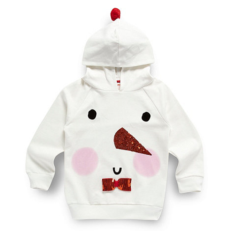 bluezoo - Girl+s white snowman novelty hoodie