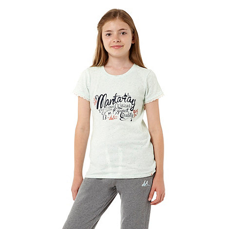 Mantaray - Girl+s pale green flecked jersey t-shirt