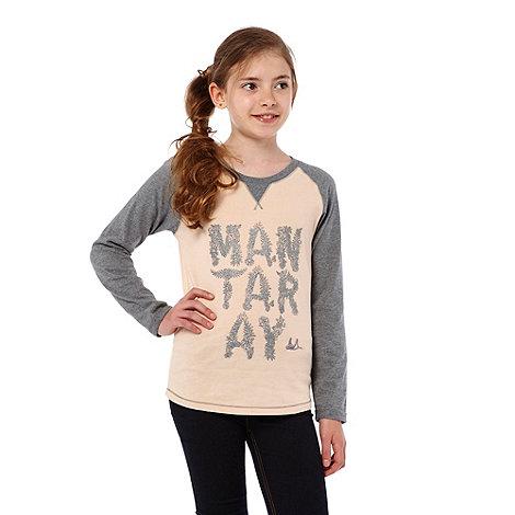 Mantaray - Girl+s grey long sleeved logo t-shirt