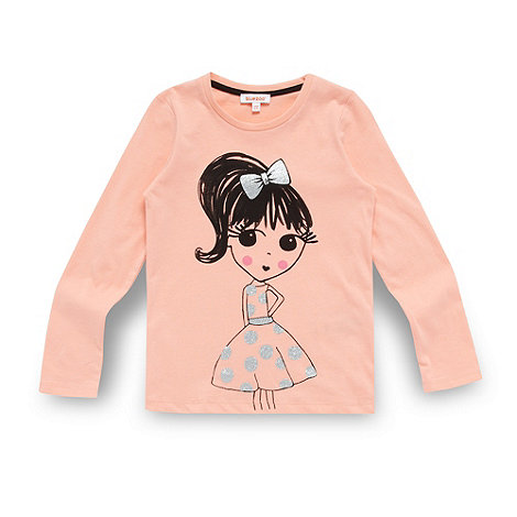 bluezoo - Girl+s coral sketched girl print top