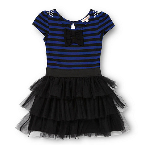 bluezoo - Girl+s blue striped mesh dress