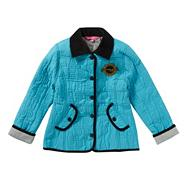 Girl's light blue embossed quilted jacket