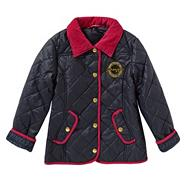 Girl's black diamond quilted jacket