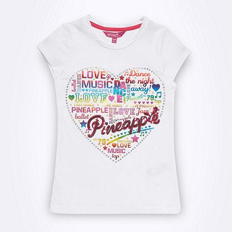 Pineapple - Girl+s white heart logo t-shirt
