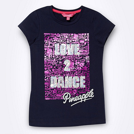 Pineapple - Girl+s navy +Love 2 Dance+ t-shirt