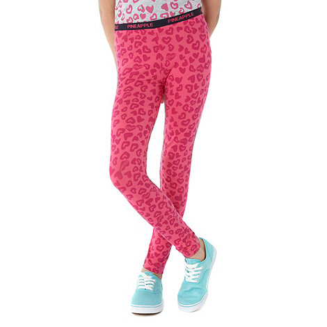 Pineapple - Girl+s pink heart printed leggings