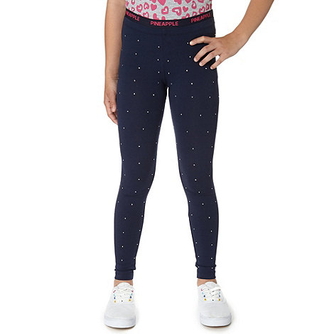 Pineapple - Girl+s navy diamante leggings