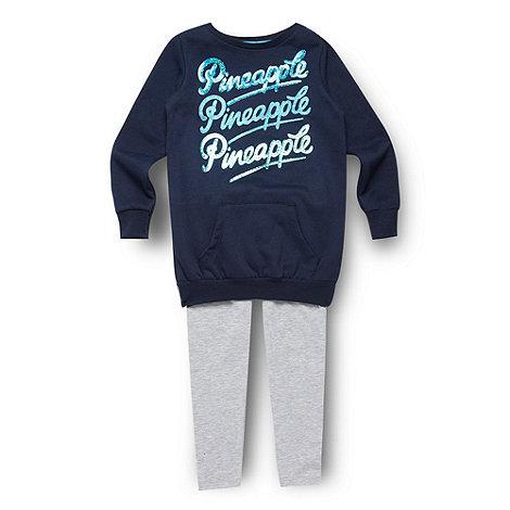 Pineapple - Girl+s navy sweater and leggings
