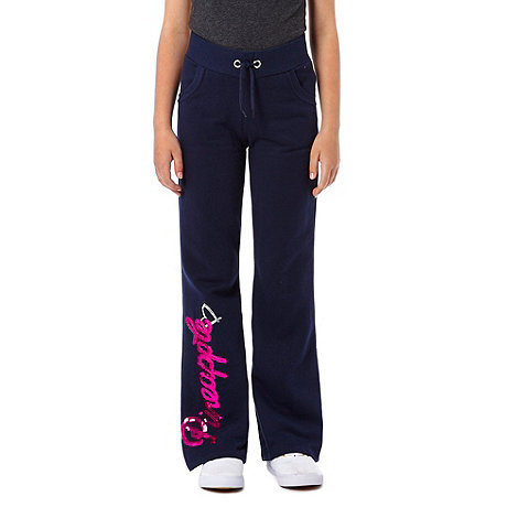 Pineapple - Girl+s navy flared jogging bottoms