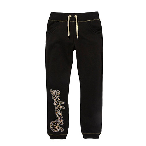 Pineapple - Girl+s black cuffed joggers