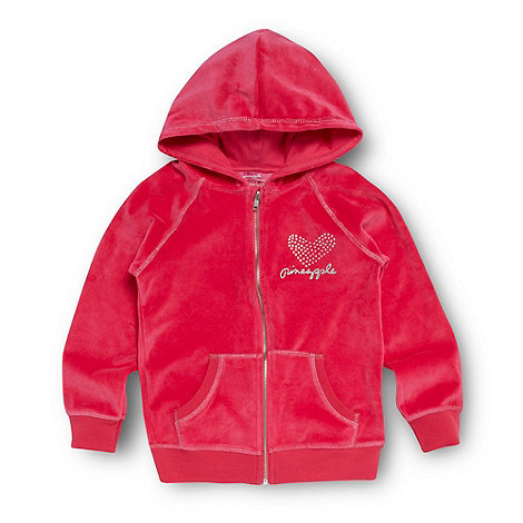 Pineapple - Girl+s pink velour zip hoodie