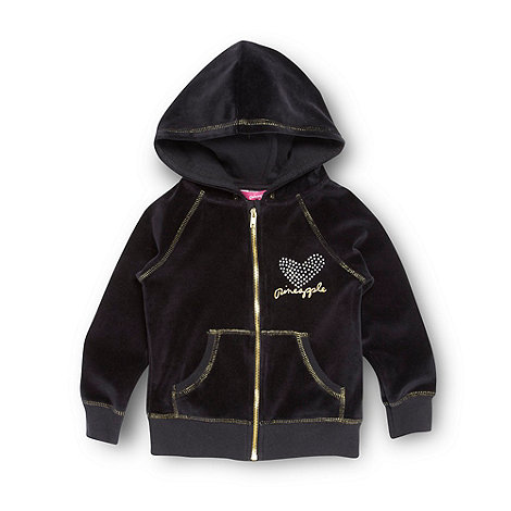 Pineapple - Girl+s black velour zip through hoodie