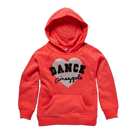 Pineapple - Girl+s dark peach flocked heart logo hoodie