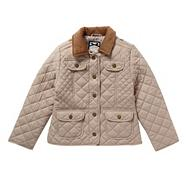 Girl's taupe quilted jacket