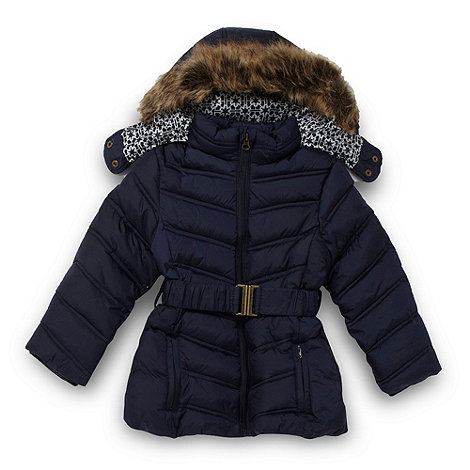 J by Jasper Conran - Designer girl+s navy chevron quilted coat