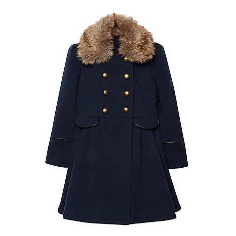 J by Jasper Conran - Girl+s navy smart coat