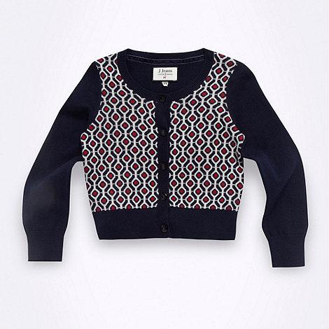J by Jasper Conran - Designer girl+s navy geo cardigan