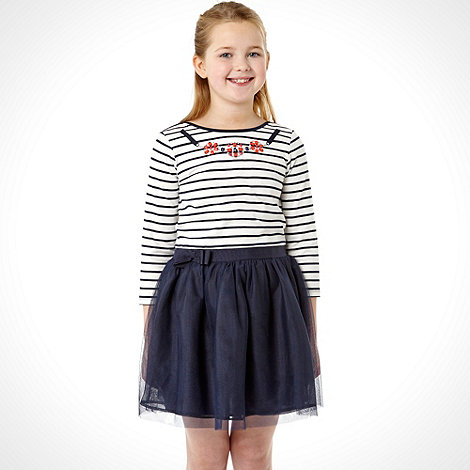 J by Jasper Conran - Designer girl+s navy striped mock dress