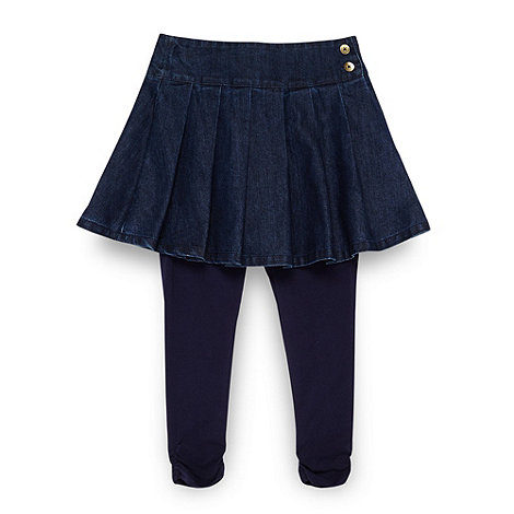 J by Jasper Conran - Designer girl+s blue pleated denim skirt and leggings set