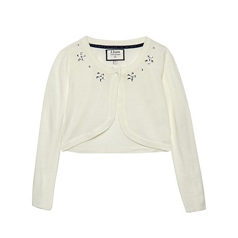J by Jasper Conran - Girl+s off white jewel embellished bolero