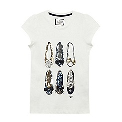 J by Jasper Conran - Girls' off white sequin shoes t-shirt