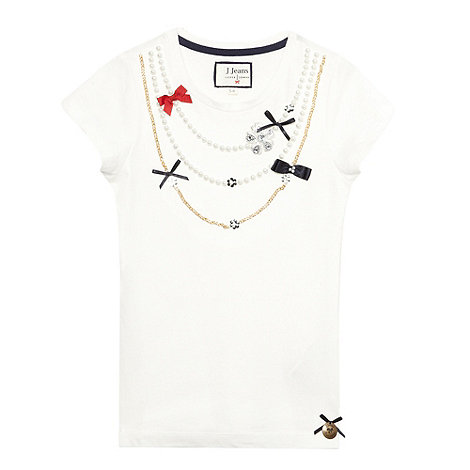 J by Jasper Conran - Girl+s white necklace embellished t-shirt