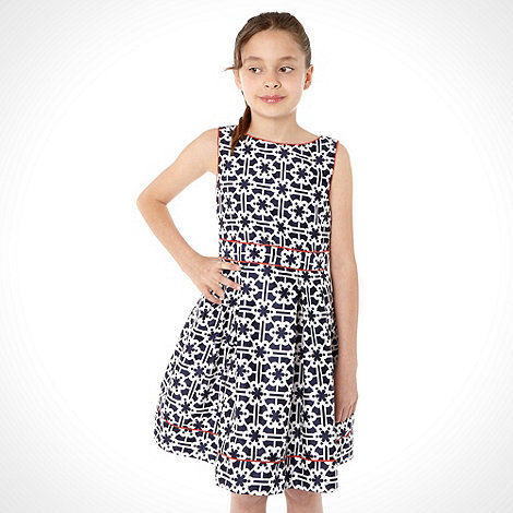 J by Jasper Conran - Girl+s navy geo print dress