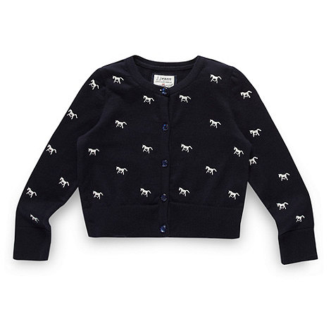 J by Jasper Conran - Designer girl+s navy horse embroidered cardigan