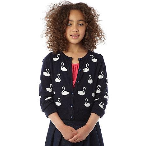 J by Jasper Conran - Designer girl+s navy swan cardigan