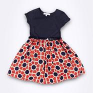 Designer girl's navy geo dress
