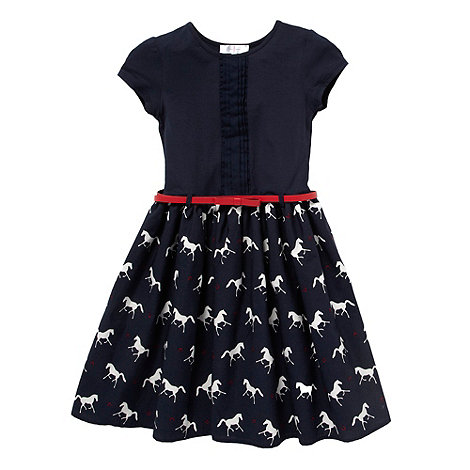 J by Jasper Conran - Designer girl+s navy horse patterned dress