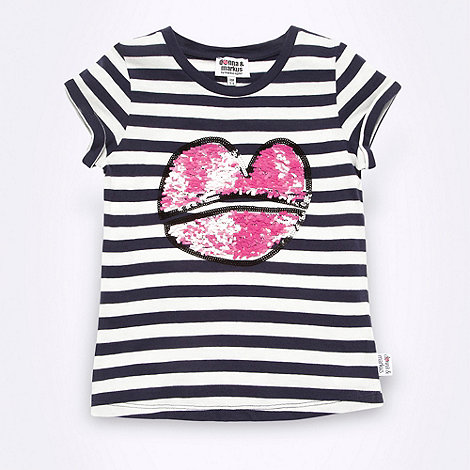 Donna & Markus by Markus Lupfer - Designer girl+s navy striped sequin lips t-shirt