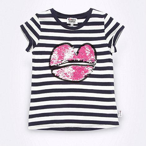 Donna & Markus by Markus Lupfer - Designer girl+s navy striped sequin lips t-shirt