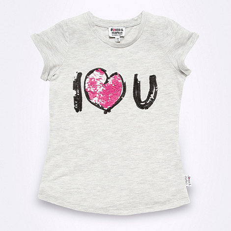Donna & Markus by Markus Lupfer - Designer girl+s grey +I Love U+ t-shirt