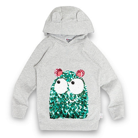 Donna & Markus by Markus Lupfer - Designer girl+s grey sequin monster hoodie